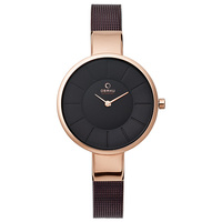 Obaku Women's Watch V149 Analog Brown Dial Brown Mesh Band 32mm Rose Gold Case