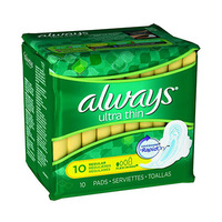 Always Ladies Pads Ultra Thin Normal Wings 10 Napkins