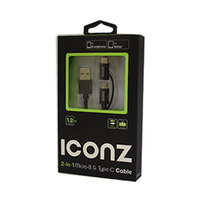 Iconz 2 In 1 Micro B & C USB Cable Black