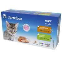 Carrefour Kitten Mince with Chicken & Carrots, With Fish & Carrots 100gx4