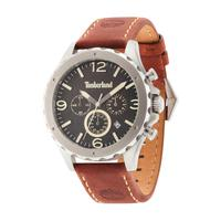 Timberland Men's Watch Warner Analog Black Dial Brown Leather Band 46mm Case