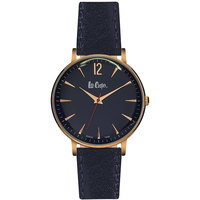 Lee Cooper Women's Analog Rose Gold Case Blue Leather Strap Black Dial -LC06380.360