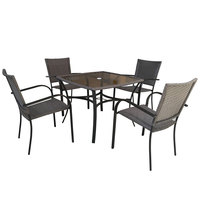 Steel Wicker Patio Set 5Pcs  (Delivered In 7 Business Days)