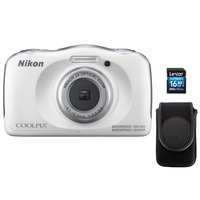 Nikon Camera W100 White + 16GB Card + Case
