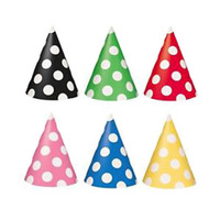 Cone Shaped Birthday Party Hats, Blue With Dots 6 Pieces