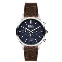 Lee Cooper Men's Chronograph Silver Case Brown Leather Strap Blue Dial -LC06293.392