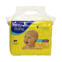 Fine Baby Diapers Day & Night Yellow Size 2 3-6KG 32 Diapers