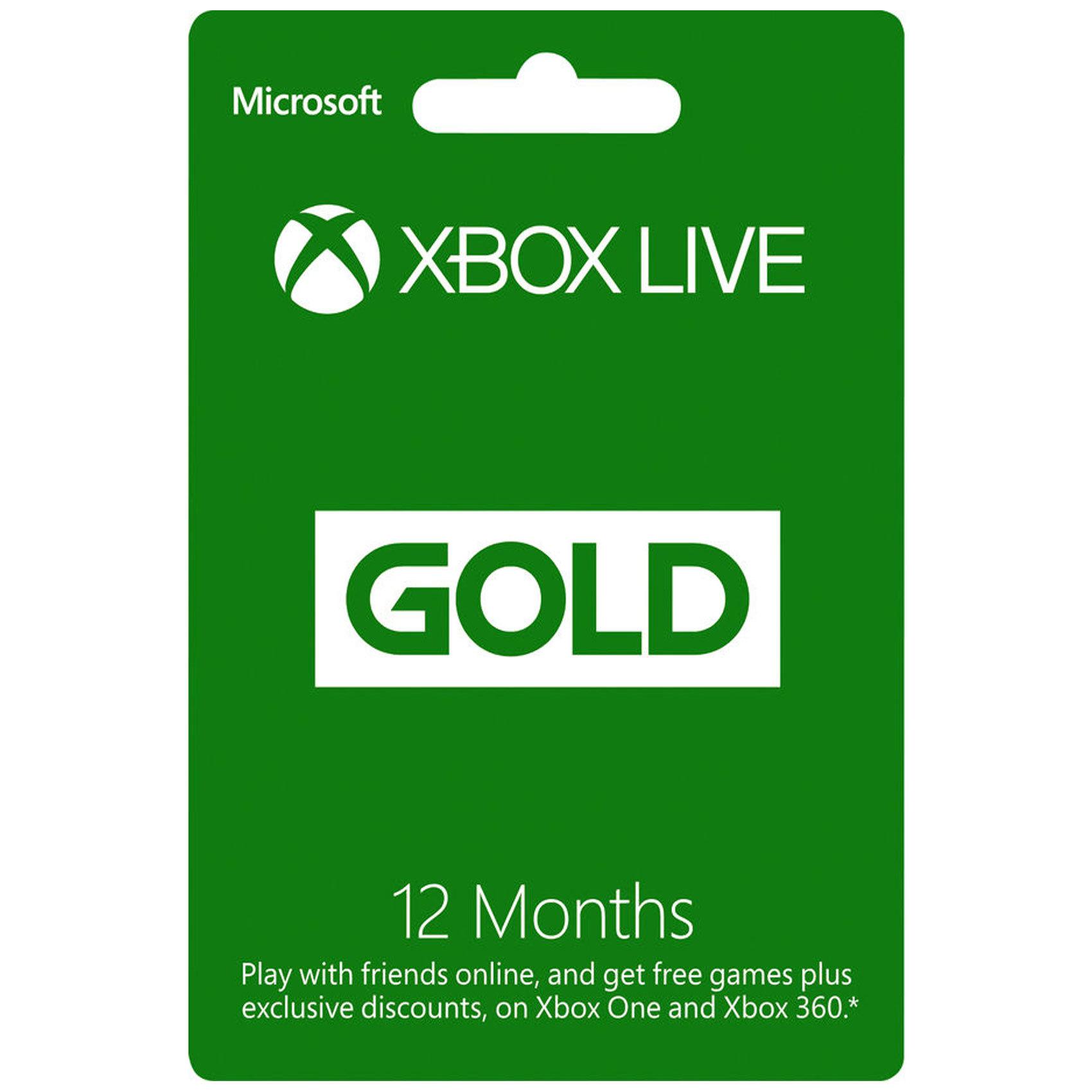 MICROSOFT XBOX LIVE 12MTH GOLD CARD