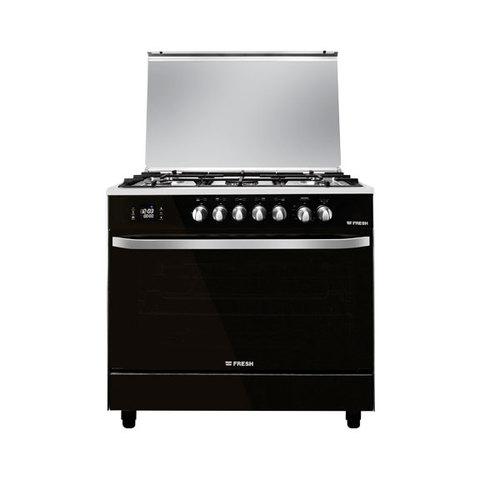 Fresh-Hummer-Digital-Gas-Cooker,-5-Burners,-90x60cm---Silver/Black
