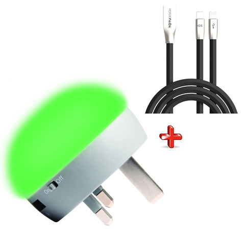 Cellairis-Charger-Light-Up-Green-+-Lightning-Cable-2-In-1