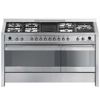 SMEG Dual Cavity Cooking Range With Gas Hob And Electric Griddle 150cm A5-8 Silver