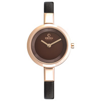 Obaku Women's Watch V129 Analog White Dial Brown Leather Band 26mm Rose Gold Case