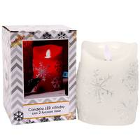 Chamdol Candle W/ Movable Flame & Snowflake Pattern Dia 7.7* H11 Battery Inc