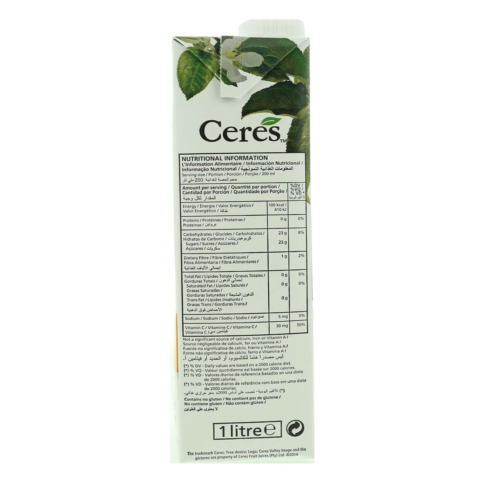 CERES JUICE PEACH 1L