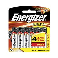 Energizer Max AA 6 Batteries 4 + 2 Free