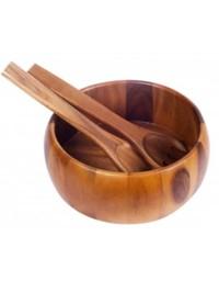 بيلي مجموعة أوعية سلطة خشبية 3 قطع لون بني