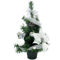 Christmas Mini Tree PVC With Ball Flower Pinecone Decoration-White/Silver 45cm