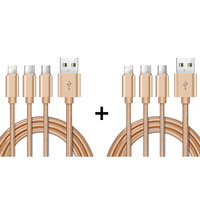 Xcell Cable 3 in 1 (Lightning, Type-C & Micro USB) Gold + 3 in 1 Cable Gold