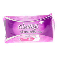 Always Diamond Ultra Sanitary Pads With Wings, Long, 16 Count
