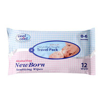 Cool & Cool Travel Pack New Born Sanitizing 12 Wipes