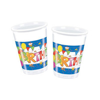 Decorata Kokliko Happy Birthday Plastic Cups Blue 10 Pieces