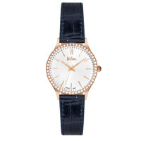 Lee Cooper Women's Analog Rose Gold Case Blue Leather Strap Silver Dial -LC06302.439