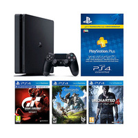 Sony Ps4 Console 500GB Slim+ Grain Turismo Sport+ Horizon Zero Dawn+ UnCharted 4+ 3 Months Playstation Plus Membership+ Bag-Red Color