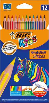 BIC Kids Evolution Stripes Colouring Pencils (Assorted Colours), Pack of 12
