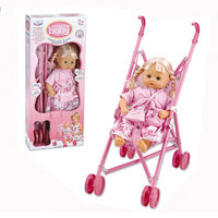"Baby Doll Girl 16"""" With Metal Trolley"