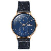 Lee Cooper Men's Analog Rose Gold Case Blue Leather Strap Blue Dial -LC06381.499