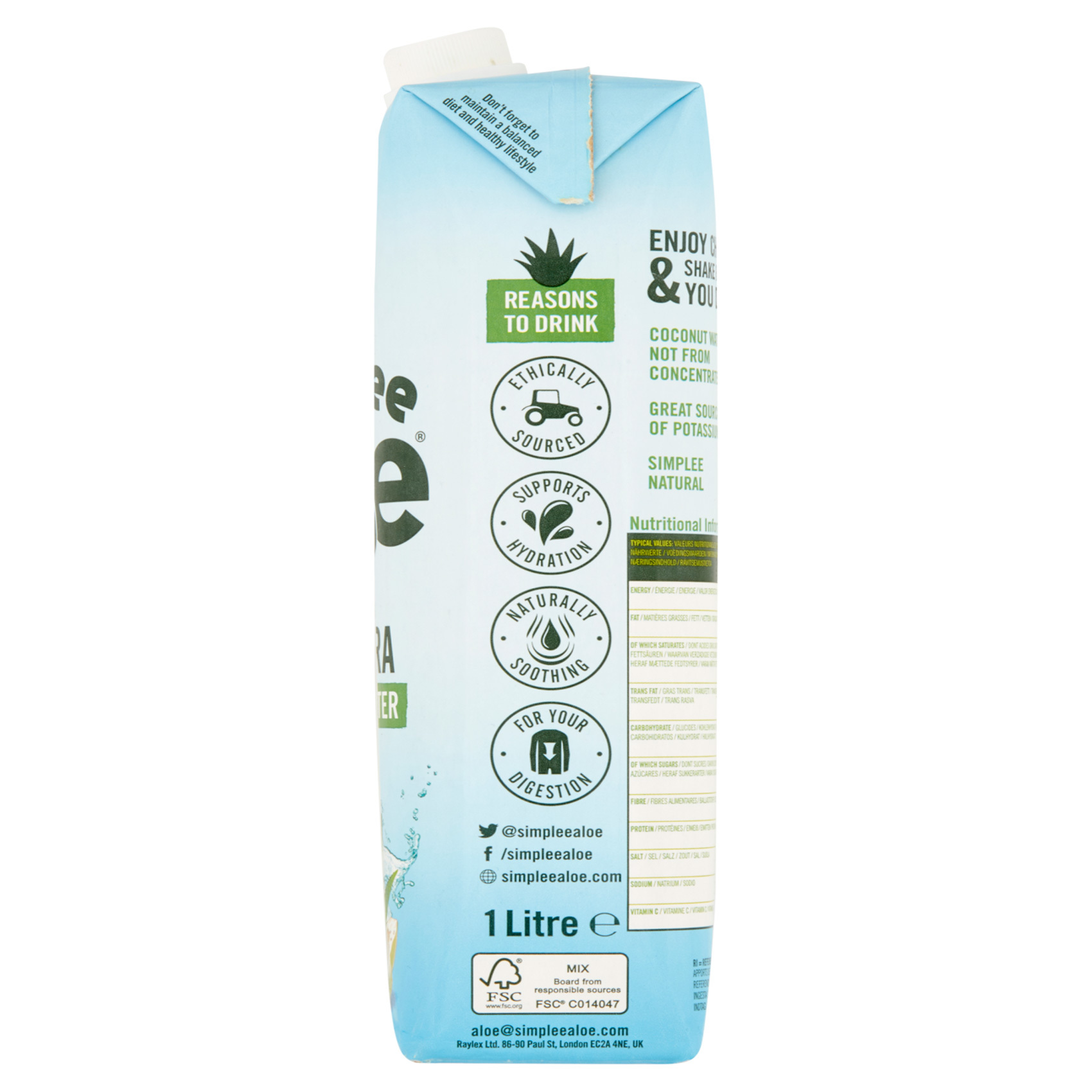 SIMPLE ALOE WITH COCONUT 1L