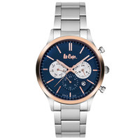 Lee Cooper Men's Multi-Function Silver Case Silver Super Metal Strap Blue Dial -LC06295.590
