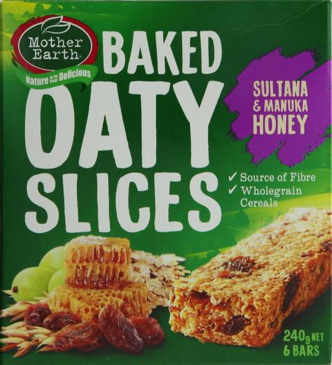 e72d46bc36 Buy Mother Earth Baked Oaty Slices Sultana & Manuka Honey 240g ...