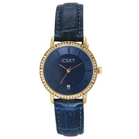 Ecstacy Women's Watch Analog Display Blue Dial Blue Leather Strap - E7501-GLNN