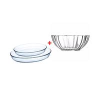 Luminarc Sodo Oval Dish 3 Pieces + Arcade Glass Bowl 23CM