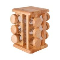 بيلي مجموعة مرطبانات البهار الخشبية 12 قطعة