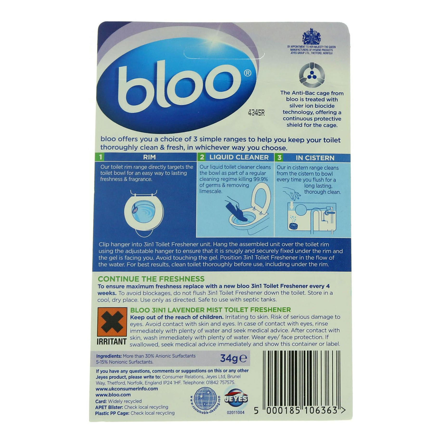 BLOO WC BLOCK 2IN1 LAVENDER 34G