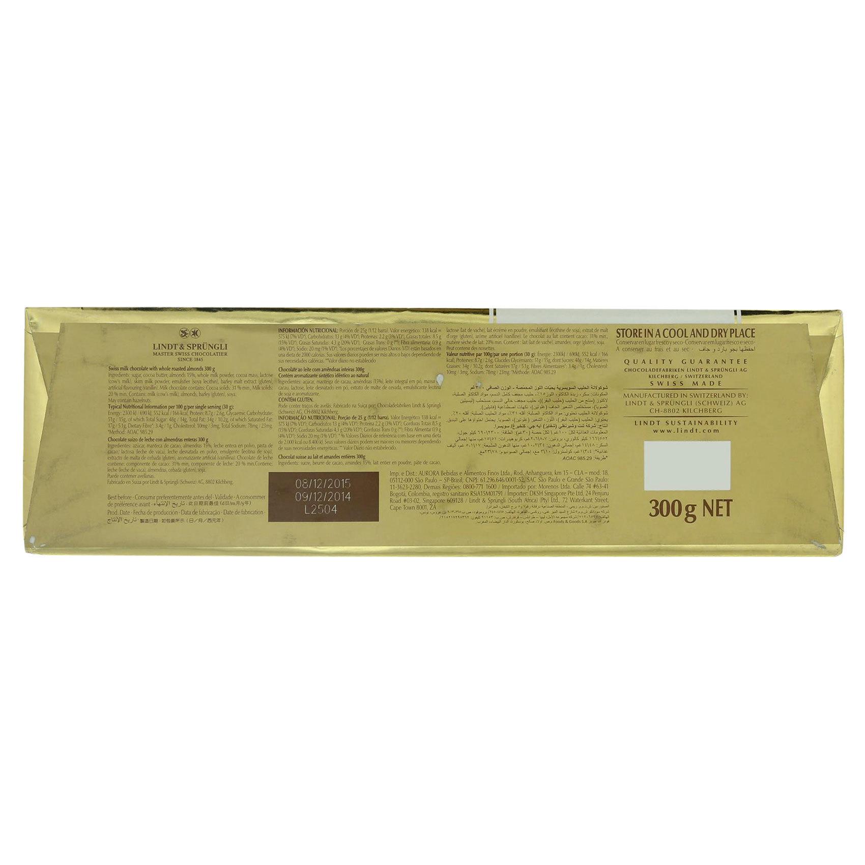 LINDT GOLD TABLETS ALMOND 300G