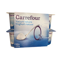 Carrefour Yoghurt Plain Styless 0% 125 g x 12