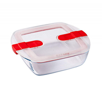 Pyrex Glass Square Dish With Vented Lid 1L