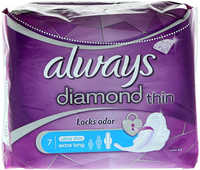 Always Diamond Ultra Sanitary Pads With Wings, Extra Long, 7 Count