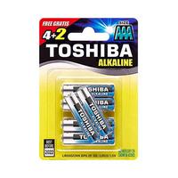 Toshiba Alkaline Blue AAA 6 Batteries 4 + 2 Free