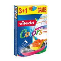 Vileda Pure Active Colors Flex Non Scratch Dish Washing Sponge Scourer 3+1 Pcs
