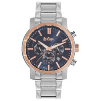 Lee Cooper Men's Multi-Function Silver Case Silver Super Metal Strap Blue Dial -LC06360.399