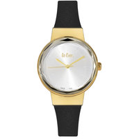 Lee Cooper Women's Analog Gold Case Black Leather Strap Silver Dial -LC06352.330