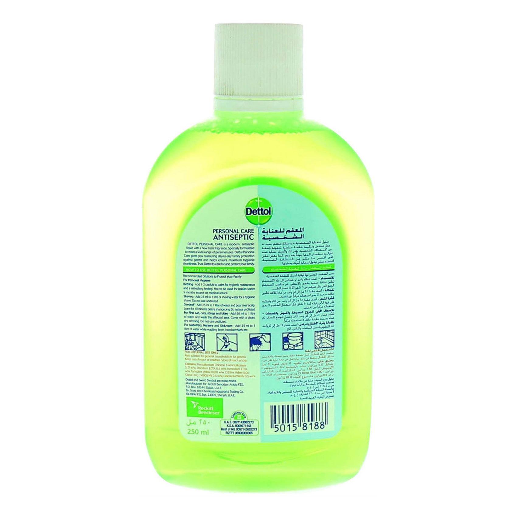 Buy Dettol Anti Bacterial Personal Care Antiseptic 250ml Online In Liquid 100 Ml Antisep