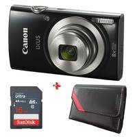 Canon Camera IXUS 185 Black + 16GB Card + Case