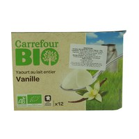 Carrefour Bio Whole Milk Vanilla Yoghurt 125g x 12