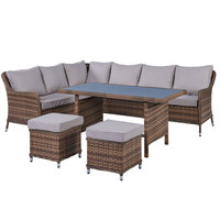 Fatima Highback Wicker Corner Set 5Pcs With Cushions