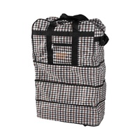 Fabric Expandable Wheeled Bag With Three Zipper